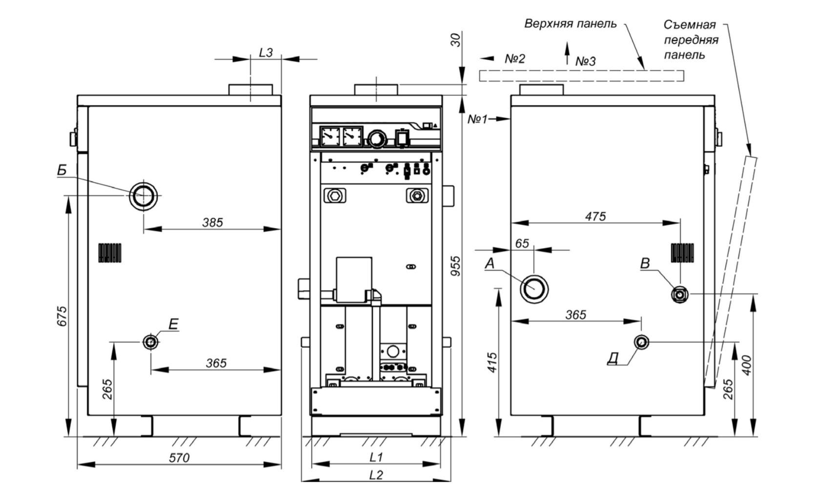 Рисунок 2. Габаритные и присоединительные размеры котла ALFA COMFORT E