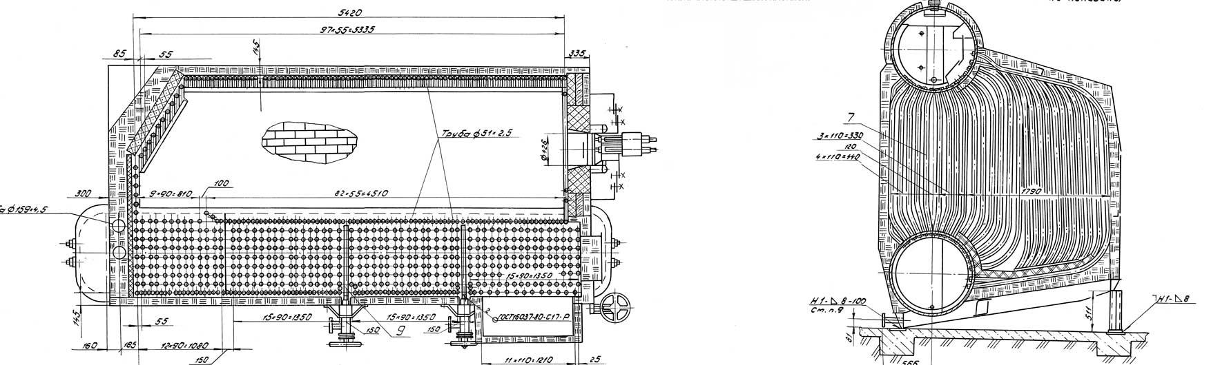 Котел ДЕ-16-14ГМО в легкой обмуровке и блок котла ДЕ - 16-14ГМ