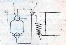 Схема подогрева воды в поверхностном теплообменнике, размещенном над котлом: