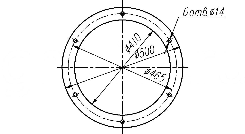 Рис.4. Схема расположения присоединительных отверстий приемного патрубка (подача угля)