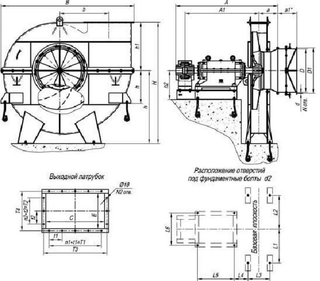 Габаритные и присоединительные размеры вентиляторов ВМ (90°)